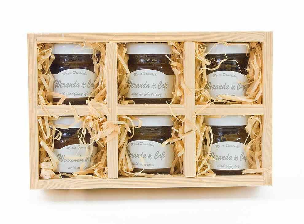Dárkové balení šesti skleniček medu