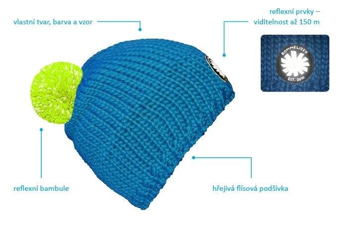 Zakázková výroba zimní čepice s reflexní bambulí