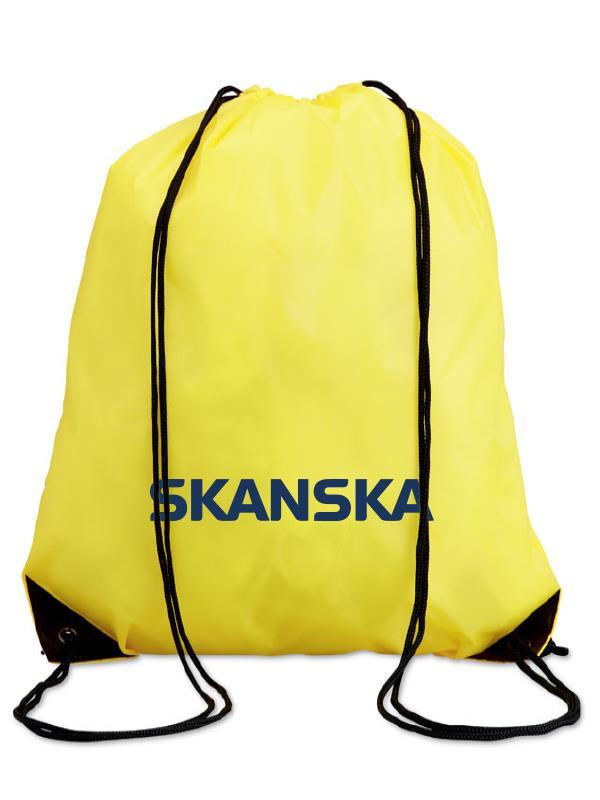 Žlutý reklamní vak na záda s potiskem Skanska