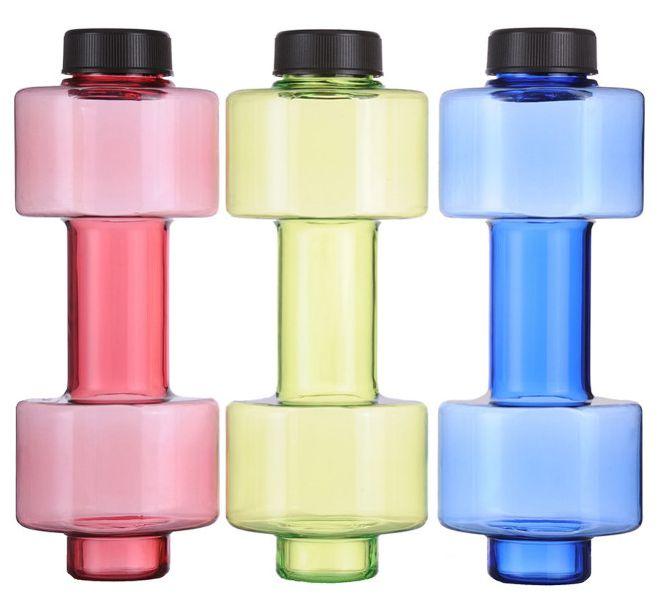 Reklamní láhev na vodu ve tvaru činky - 2v1 2