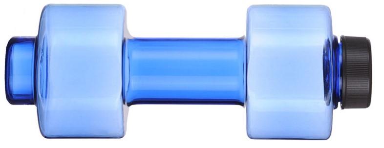Reklamní láhev na vodu ve tvaru činky modrá