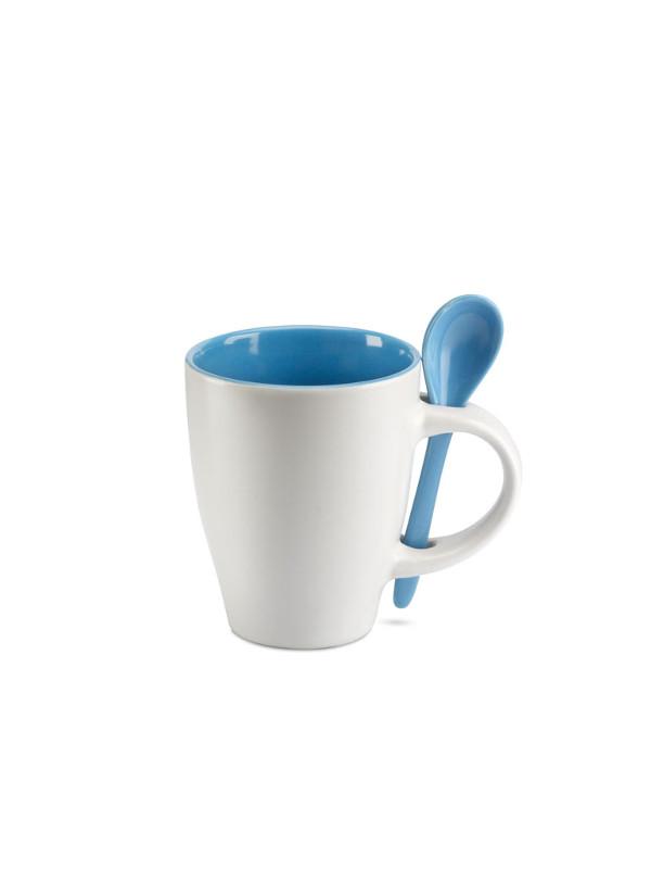 reklamní šálek s lžičkou DUAL modrá