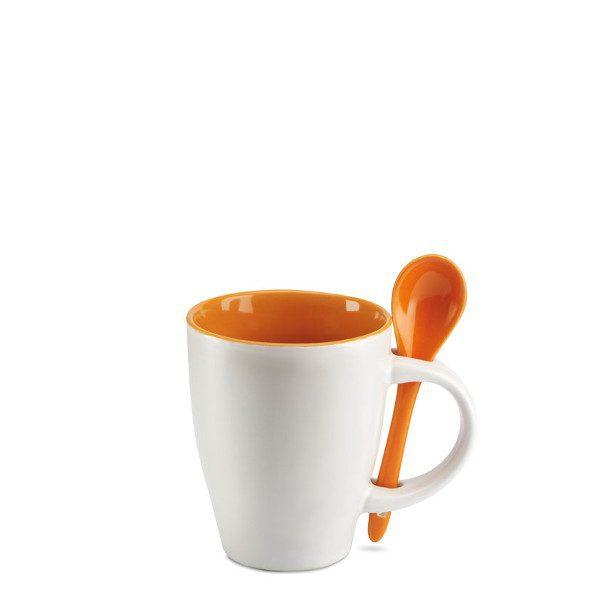 reklamní šálek s lžičkou DUAL oranžová