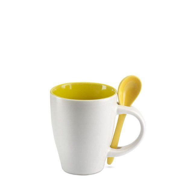 reklamní šálek s lžičkou DUAL žlutá