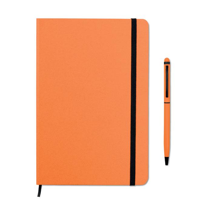 Reklamní zápisník s propiskou oranžový NEILO SET