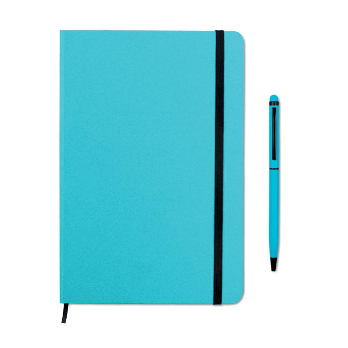 Reklamní zápisník s propiskou modrý NEILO SET