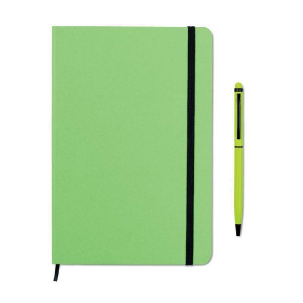 Reklamní zápisník s propiskou zelený NEILO SET