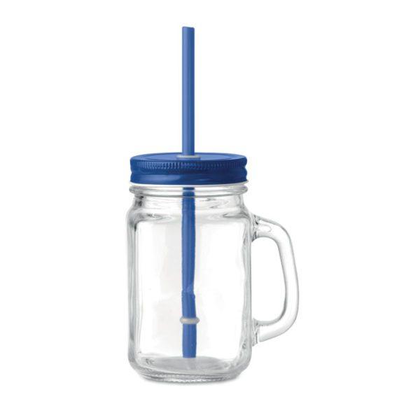 Reklamní sklenice s brčkem TROPICAL TWIST modrá