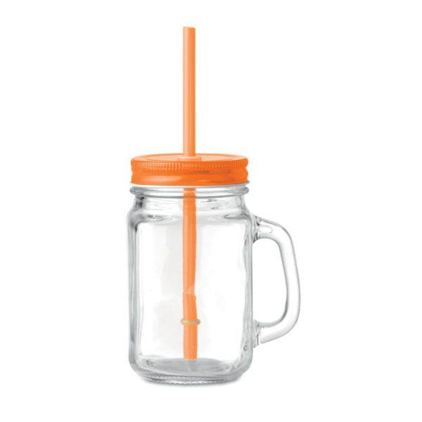 Reklamní sklenice s brčkem TROPICAL TWIST oranžová