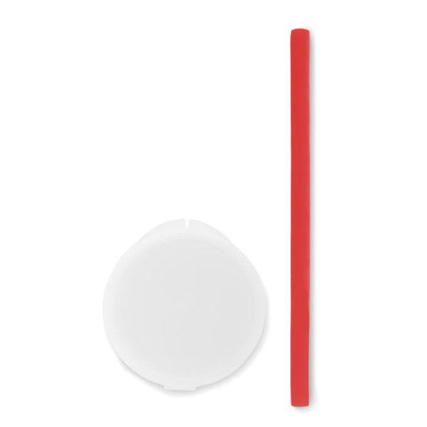 Reklamní silikonové brčko FLEXI STRAW červené