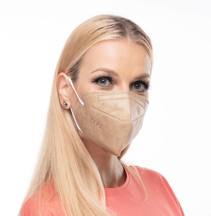 béžový respirátor FFP2 s potiskem