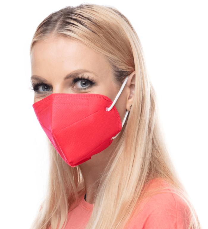 červený respirátor FFP2 s potiskem