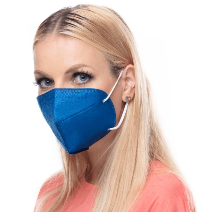 modrý respirátor FFP2 s potiskem