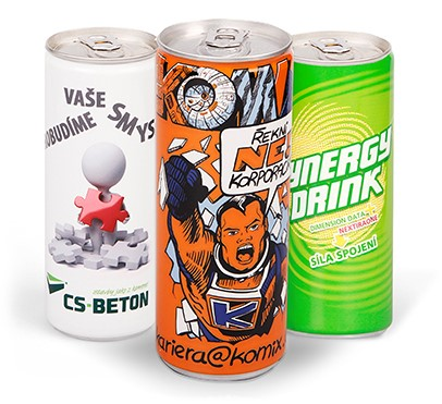 energy drinky s potiskem